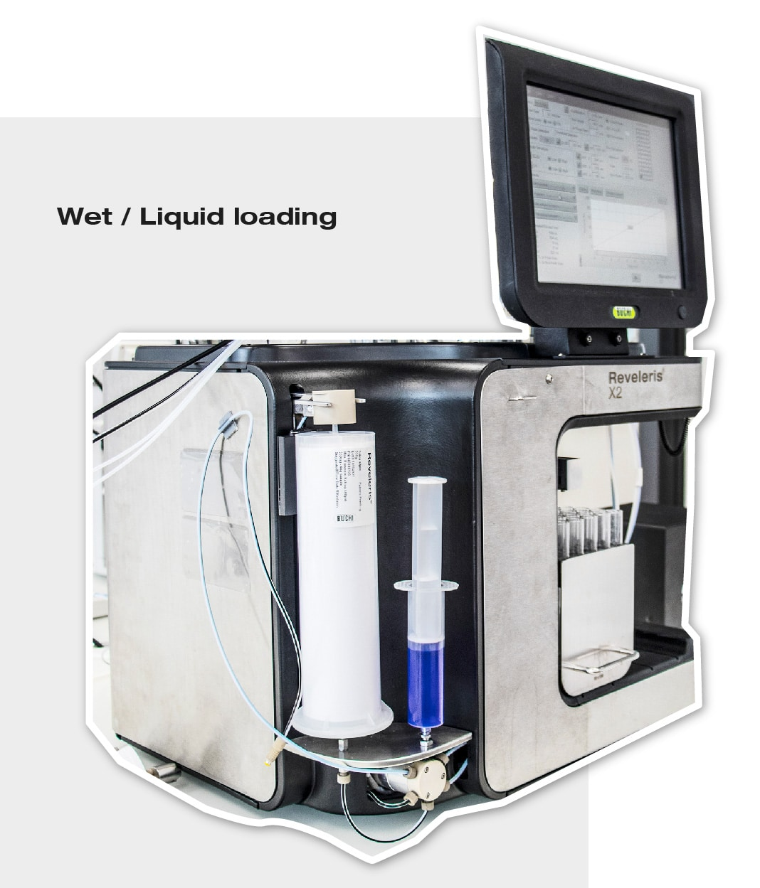 Image of how liquid loading of a sample looks like in a Reveleris flash chromatography system