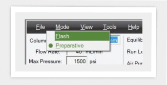 Screenshot of user-friendly software which helps save time by enabling easy switch between flash chromatography and preparative chromatography modes