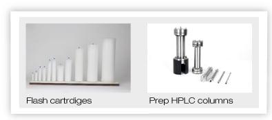 flash cartridges, prep HPLC columns, flash chromatography, preparative chromatography